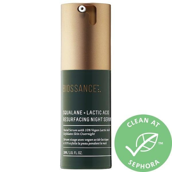 "<p><strong>Item: </strong><span>Biossance Squalane + 10% Lactic Acid Resurfacing Night Serum</span> ($62) </p> <p><strong>What our editor said:</strong> ""This serum boasts tons of amazing reviews on Sephora, which is what initially drew me in. Users have said they were able to see drastic results overnight - a bold claim, and one I was fully game to put to the test. I've been using this serum for about three weeks, but I didn't have to wait three weeks to see an improvement. I noticed a change in my skin's texture in less than a week, and I noticed my dark spots fade within two weeks. </p> <p>As the days went on, I noticed a significant difference in the look and feel of my skin. If I happened to be experiencing a breakout, this product helped speed up the healing time. My pores looked clearer, my dark spots were lighter, and the texture of my skin looked more even than it's ever been. I was actually kinda glowing, and I'm loving it."" - Renee Rodriguez, contributing editor</p> <p>If you want to read more, here is <a href=""https://www.popsugar.com/beauty/biossance-squalane-10-lactic-acid-night-serum-review-47369932"" class=""link rapid-noclick-resp"" rel=""nofollow noopener"" target=""_blank"" data-ylk=""slk:the complete review"">the complete review</a>.</p>"