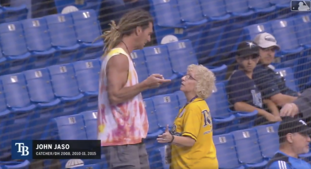 "An usher denies retired MLB player John Jaso access to his <a class=""link rapid-noclick-resp"" href=""/mlb/teams/tam"" data-ylk=""slk:Rays"">Rays</a> teammates and coaches. (MLB.com screenshot)"