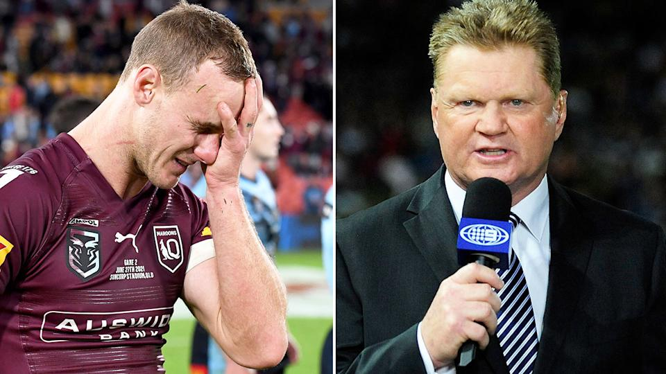 Seen here, Channel Nine commentator Paul Vautin on the right and Daly Cherry-Evans on the left.