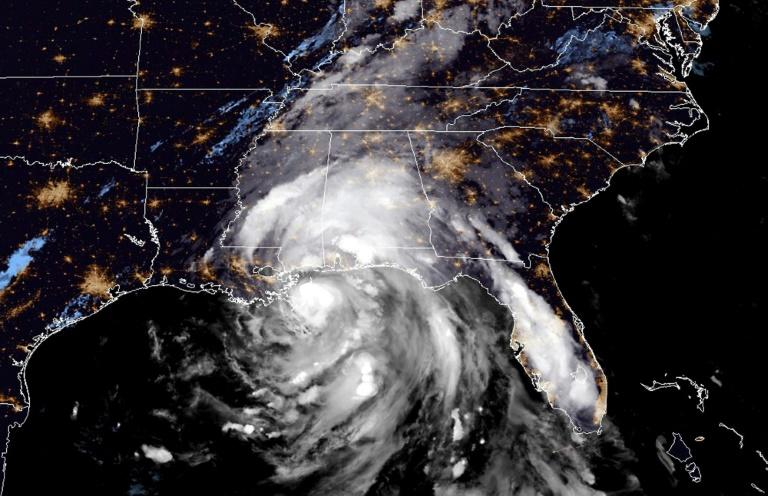 This satellite image obtained from the National Oceanic and Atmospheric Administration (NOAA) shows Nate as it pounded the US Gulf Coast as a hurricane