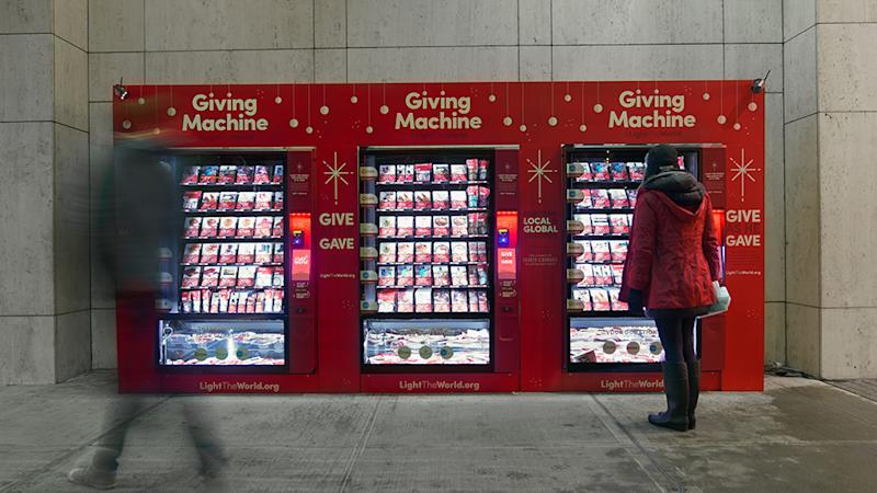 Picture of the giving machine - the vending machine which gives back to charity