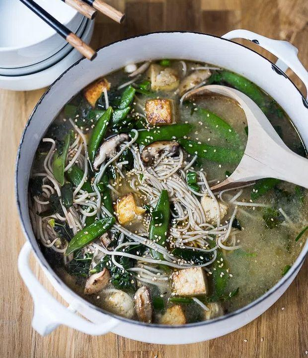 """<strong>Get the <a href=""""http://www.feastingathome.com/sesame-soba-noodle-soup-with-shiitakes-snap-peas-and-tofu/"""" target=""""_blank"""">Ginger Sesame Soba Noodle Soup recipe</a>from Feasting at Home</strong>"""