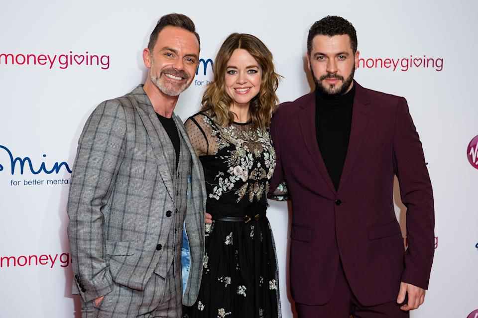 LONDON, ENGLAND - NOVEMBER 29: (L-R) Daniel Brocklebank, Georgia Taylor and Shayne Ward attend the Virgin Money Giving Mind Media Awards 2018 at Queen Elizabeth Hall on November 29, 2018 in London, England. (Photo by Jeff Spicer/Getty Images)
