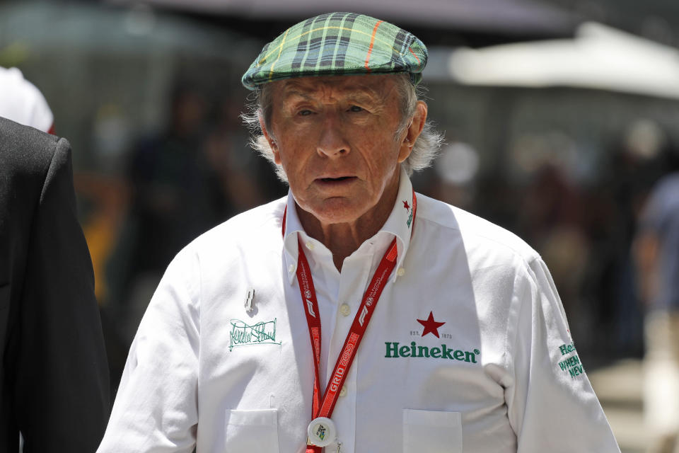 Former Formula one driver Jackie Stewart arrives before the race of the Brazilian Formula One Grand Prix at the Interlagos race track in Sao Paulo, Brazil, Sunday, Nov. 17, 2019. (AP Photo/Nelson Antoine)