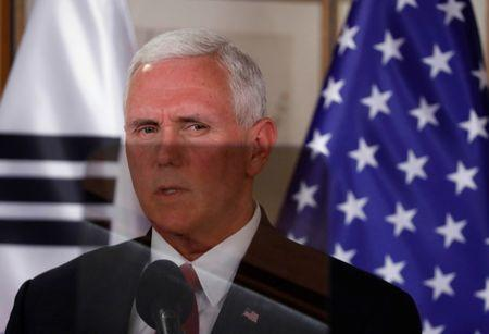 U.S. Vice President Mike Pence speaks during a news conference in Seoul