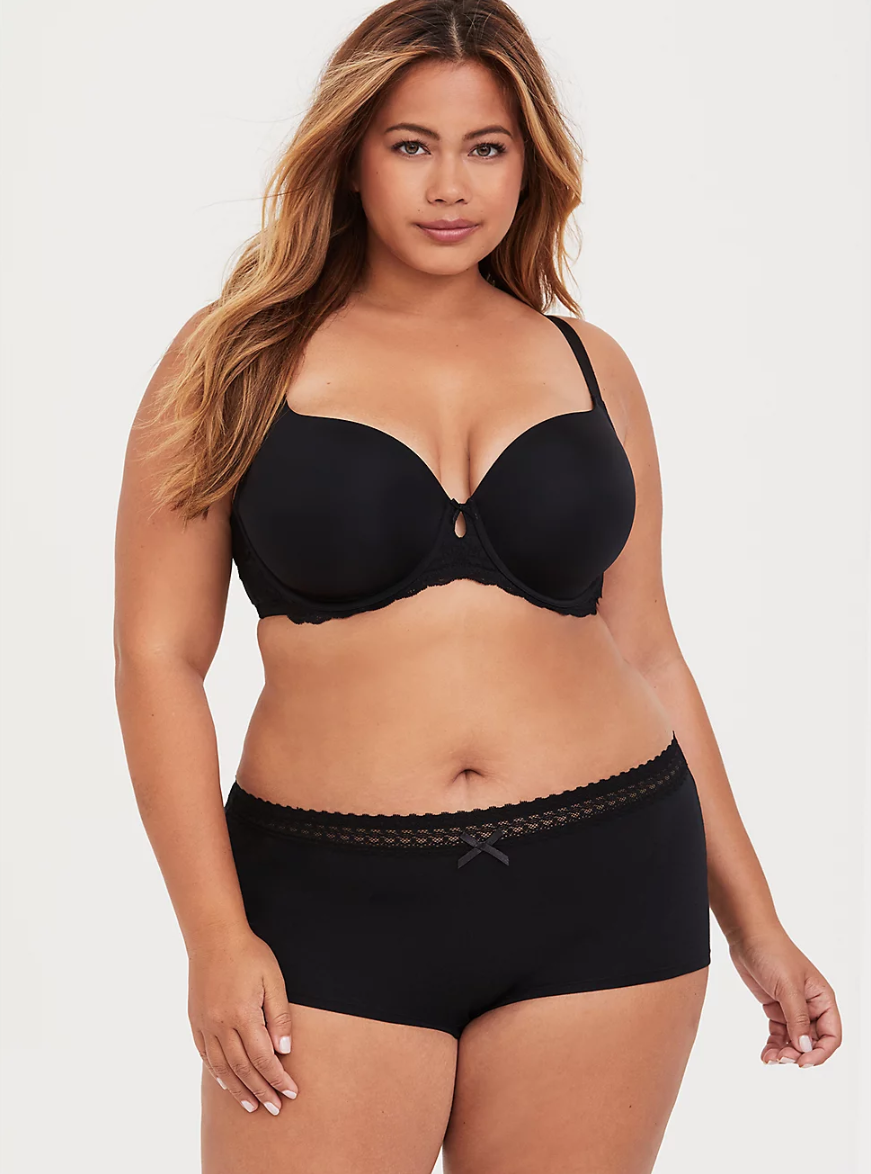 """<h3>Torrid Cotton Boyshort Panty </h3><br><br><strong>Best Plus Size Boyshorts</strong><br><br>Reviewers declared this the best plus-size cotton boyshort, citing an impeccable, figure-flattering fit.<br><br><strong>The Hype: </strong>4.6 out of 5 stars; 171 reviews on <a href=""""https://www.torrid.com/product/cotton-boyshort-panty/10126612.html#q=cotton&srule=TopRated&sz=60&start=2"""" rel=""""nofollow noopener"""" target=""""_blank"""" data-ylk=""""slk:Torrid.com"""" class=""""link rapid-noclick-resp"""">Torrid.com</a><br><br><strong>What They Are Saying:</strong> """"I have to stock up on Torrid's boyshorts every few months when they get different patterns. I love these things! They fit perfectly and look really flattering. The lace on top holds them up easily but without squeezing like a lot of others do."""" — Princessluna, Torrid.com reviewer<br><br><strong>Torrid</strong> Cotton Boyshort Panty, $, available at <a href=""""https://go.skimresources.com/?id=30283X879131&url=https%3A%2F%2Fwww.torrid.com%2Fproduct%2Fcotton-boyshort-panty%2F10126612.html%23q%3Dcotton%26srule%3DTopRated%26sz%3D60%26start%3D2"""" rel=""""nofollow noopener"""" target=""""_blank"""" data-ylk=""""slk:Torrid"""" class=""""link rapid-noclick-resp"""">Torrid</a>"""