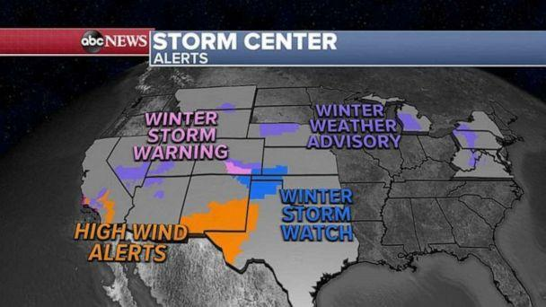 PHOTO: As these two storms march through the country, 18 states are on alert for strong winds and heavy snow from California to New York.  (ABC News)