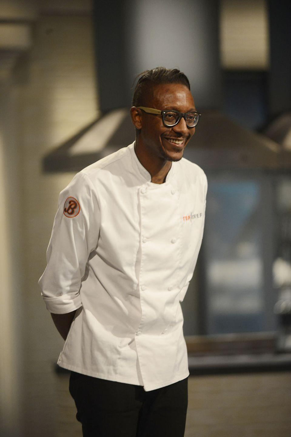 <p>Gregory Gourdet competed against fellow chefs on season 12 of <em>Top Chef</em>, where he lost out to winner Mei Lin in the final round.  </p>