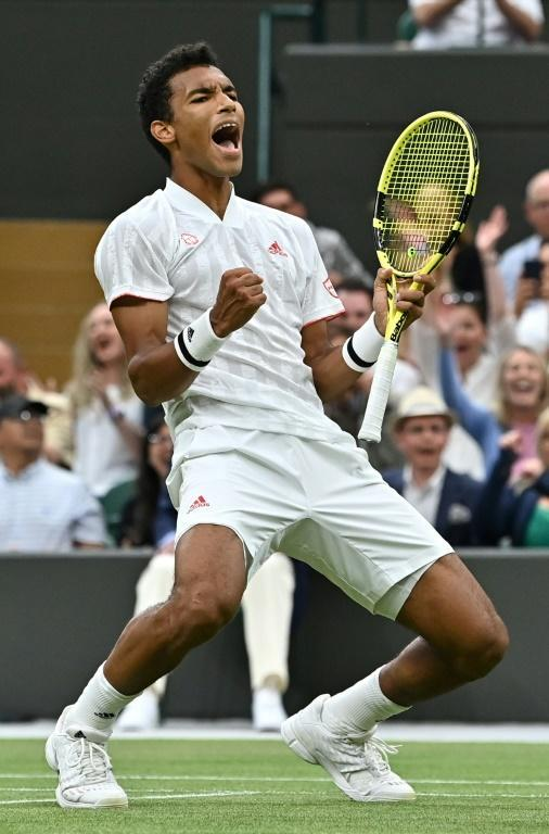 Moment of joy: Canada's Felix Auger-Aliassime reacts after beating Germany's Alexander Zverev