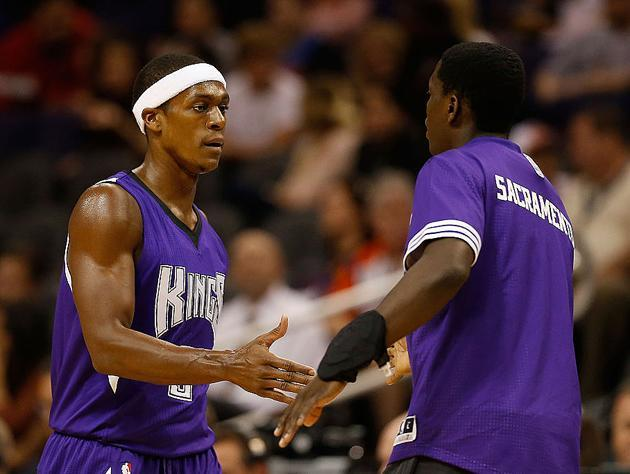 "<a class=""link rapid-noclick-resp"" href=""/nba/players/4149/"" data-ylk=""slk:Rajon Rondo"">Rajon Rondo</a> and … I want to say, ""Garrett?"" (Getty Images)"