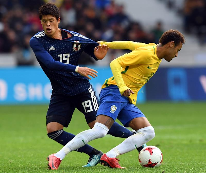 b84a7a9a35a0 Brazil  39 s Neymar (right) in action against Japan during their  international