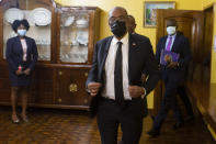 Haiti's Prime Minister Ariel Henry arrives for an interview with the Associated Press at his private residence in Port-au-Prince, Tuesday, Sept. 28, 2021. (AP Photo/Joseph Odelyn)