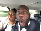"""Omar Dorsey, of 'Selma' looks cool as a cucumber in this selfie on his way to the red carpet. """"Ric Flair swag on the way to the #GoldenGlobes."""" @omardorsey/Twitter"""