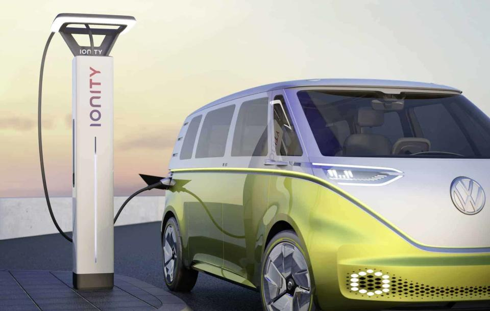 Volkswagen ID. BUZZ study charged at a IONITY high power charging station.