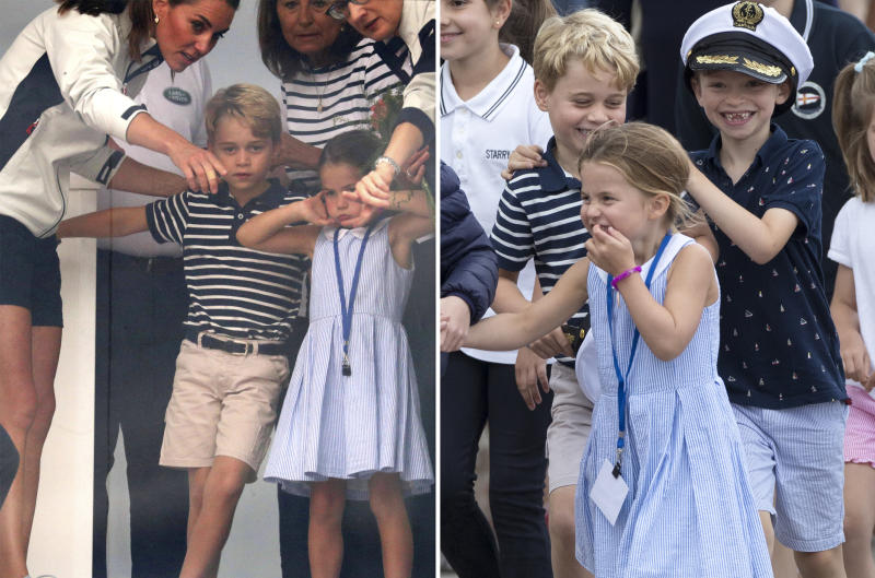 Princess Charlotte and Prince George at King's Cup regatta