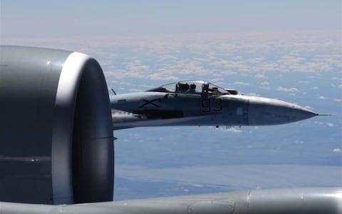 <span>A Russian Su-27 gets up and close and personal </span> <span>Credit: US European Command </span>