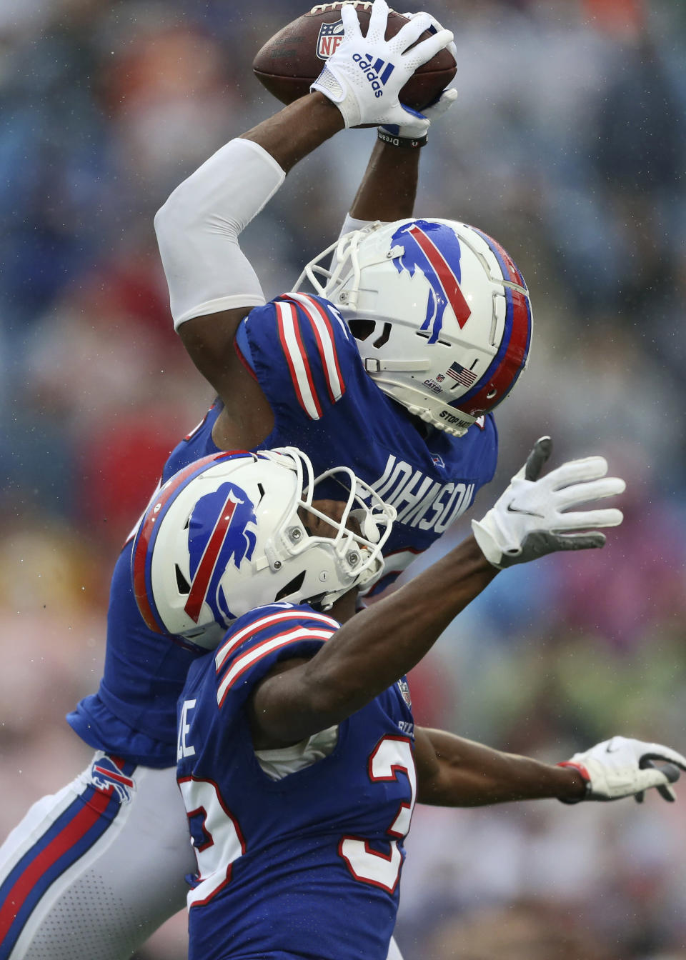 Buffalo Bills defensive back Jaquan Johnson intercepts a pass during the second half of an NFL football game against the Houston Texans, Sunday, Oct. 3, 2021, in Orchard Park, N.Y. (AP Photo/Joshua Bessex)