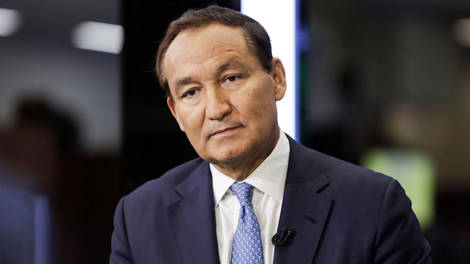 Mandatory Credit: Photo by Richard Drew/AP/REX/Shutterstock (9334570j)United Continental Holdings CEO Oscar Munoz is interviewed on the floor of the New York Stock ExchangeUnited Continental Holdings Oscar Munoz, New York, USA - 24 Jan 2018.