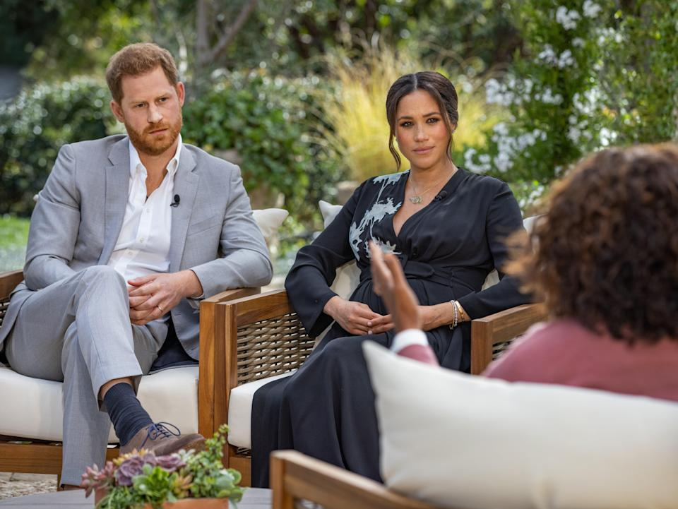 Prince Harry and Meghan Markle were interviewed by Oprah Winfrey in MarchHarpo Productions/Joe Pugliese via Getty Images