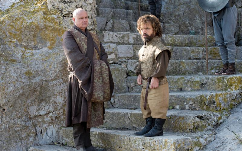 Conleth Hill (left) as Varys, with co-star Peter Dinklage as Tyrion - ©2016 Home Box Office, Inc. All rights reserved. HBO® and all related programs are the property of Home Box Office, Inc.