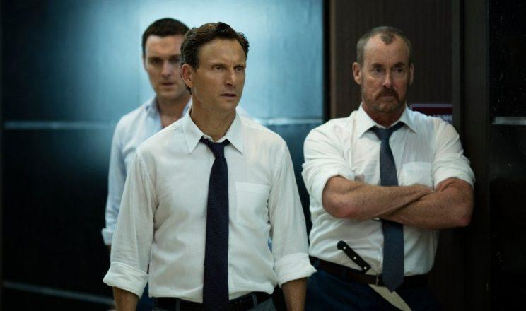 Tony Goldwyn (front) and John C. McKinley (right) in 'The Belko Experiment'