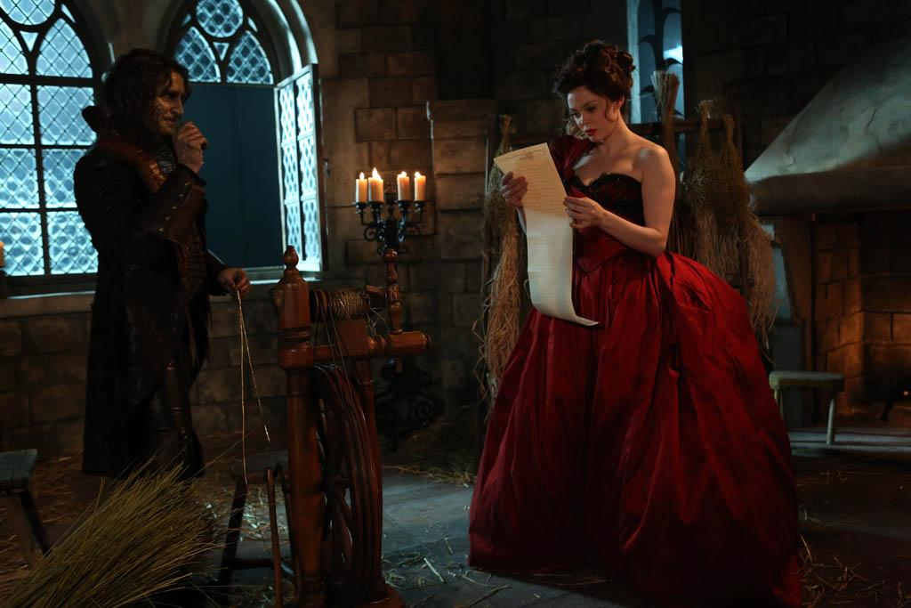 """The Miller's Daughter"" - Cora's desire to rid herself of Rumplestiltskin in order to take his place as The Dark One takes one step closer to becoming reality as she and Regina try to overpower a dying Mr. Gold, and Mary Margaret is once again tempted by dark magic. Meanwhile, in the fairytale land that was, Rumplestiltskin agrees to offer his services to a younger Cora - for a price - when the king calls her bluff and orders her to actually follow through on her boast of being able to spin straw into gold, on ""Once Upon a Time."""