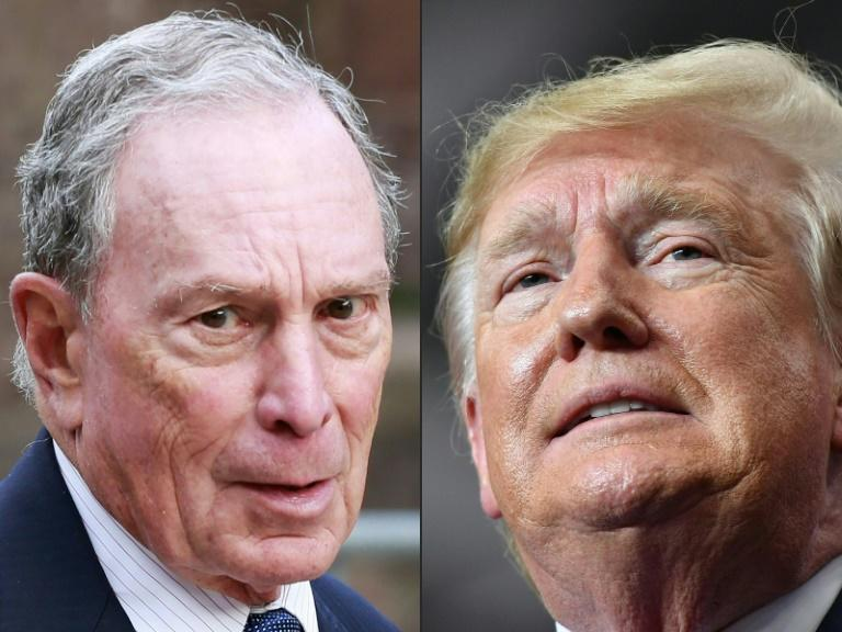Bloomberg News reporters won't be accredited for campaign events for President Donald Trump, whose spokesman claimed the agency owned by presidential hopeful Michael Bloomberg (L) is biased (AFP Photo/KENA BETANCUR, MANDEL NGAN)