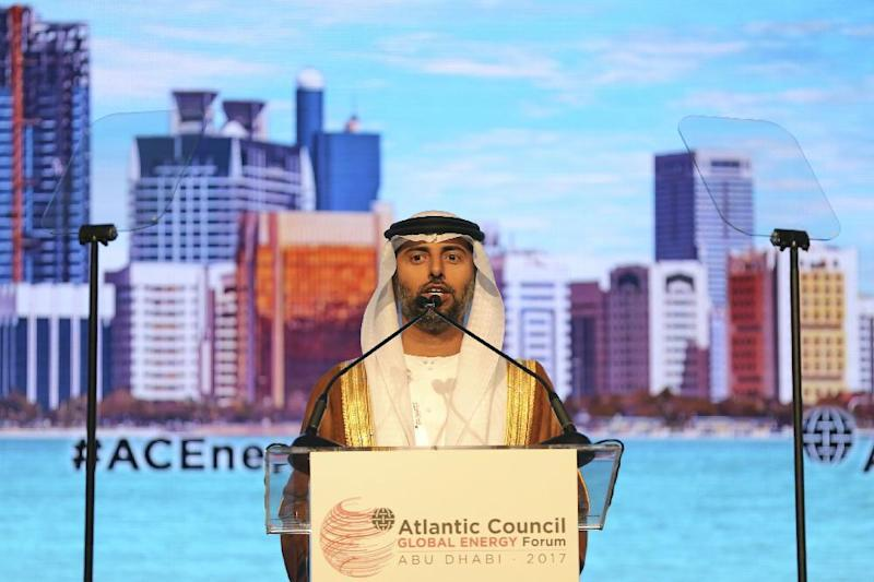 """UAE Energy Minister Suhail bin Mohamed al-Mazroui speaks during the opening ceremony of the Atlantic Council Global Energy Forum in Abu Dhabi, United Arab Emirates, Thursday, Jan. 12, 2017. OPEC Secretary-General Mohammad Sanusi Barkindo said at the forum Thursday that he remains """"confident"""" that the cartel and outside members will stick to an agreement to cut production to help boost oil prices. The comments by Barkindo of Nigeria come as the cartel and nonmembers try to stick to the landmark deal after oil prices collapsed last year. (AP Photo/Kamran Jebreili)"""