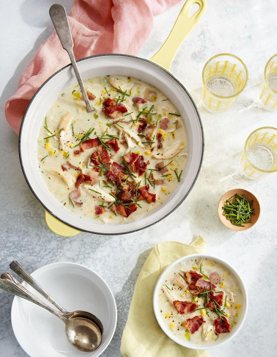"<p>This quick but hearty weeknight meal gets a big boost of speed from leftover rotisserie chicken. And a big boost of flavor from some smart spices and bacon!</p><p><strong><a href=""https://www.countryliving.com/food-drinks/a26767670/rotisserie-chicken-potato-chowder-recipe/"" rel=""nofollow noopener"" target=""_blank"" data-ylk=""slk:Get the recipe"" class=""link rapid-noclick-resp"">Get the recipe</a>.</strong></p><p><strong><a class=""link rapid-noclick-resp"" href=""https://www.amazon.com/dp/B075Q991FL/?tag=syn-yahoo-20&ascsubtag=%5Bartid%7C10050.g.1050%5Bsrc%7Cyahoo-us"" rel=""nofollow noopener"" target=""_blank"" data-ylk=""slk:SHOP SOUP POTS"">SHOP SOUP POTS</a><br></strong></p>"
