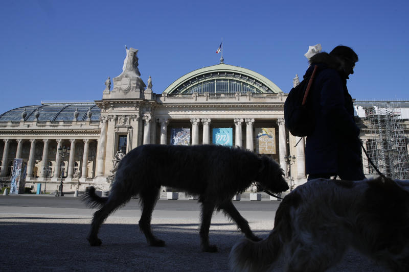 A man walks his dogs in front of the closed Grand Palais as authorities control public movements in Paris, Wednesday, March 25, 2020. The new coronavirus causes mild or moderate symptoms for most people, but for some, especially older adults and people with existing health problems, it can cause more severe illness or death. (AP Photo/Francois Mori)