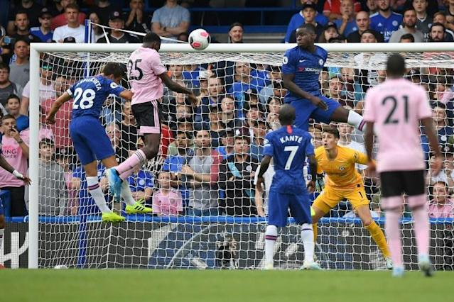 Leicester's Wilfred Ndidi headed the equaliser at Chelsea (AFP Photo/Daniel LEAL-OLIVAS)