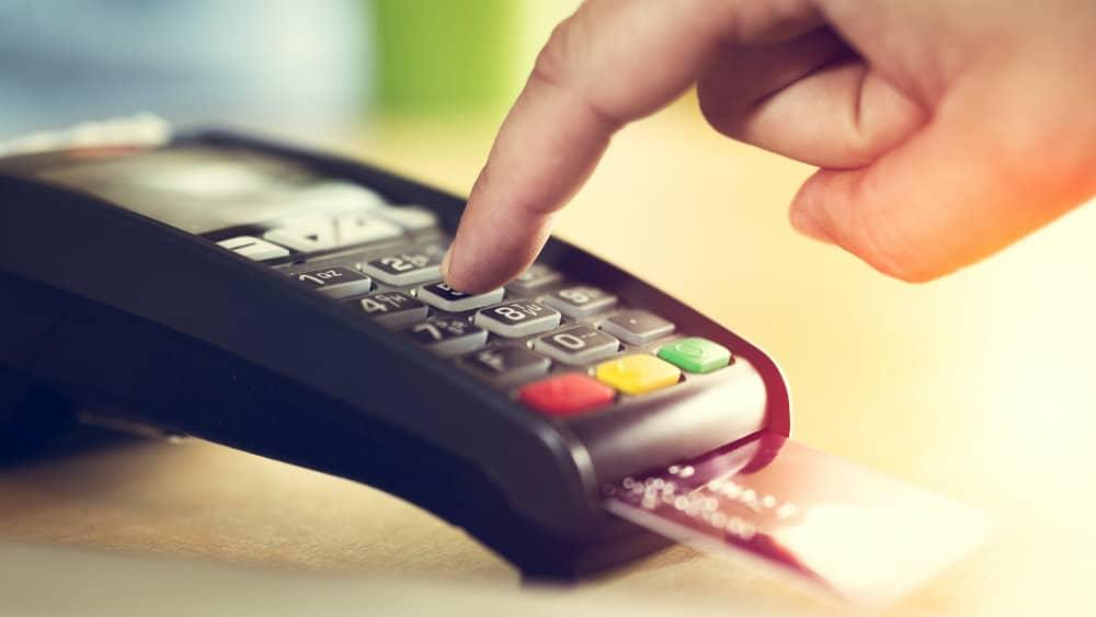 Credit card in payment terminal