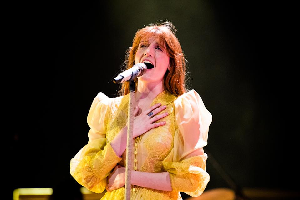 "The English musician, singer, songwriter, and producer Florence Leontine Mary Welch, better know simply as Florence Welch or Florence and the Machine, performing live on stage for her ""High As Hope"" tour concert in Torino, at the Pala Alpitour. (Photo by Alessandro Bosio/Pacific Press/Sipa USA)"