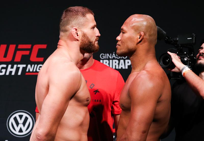 SAO PAULO, BRAZIL - NOVEMBER 15: (L-R) Jan Blachowicz of Poland and Ronaldo Souza of Brazil face off during the UFC Fight Night Blachowicz v Jacare Weigh-Ins at Ibirapuera Gymnasium on November 15, 2019 in Sao Paulo, Brazil. (Photo by Alexandre Schneider/Zuffa LLC via Getty Images)