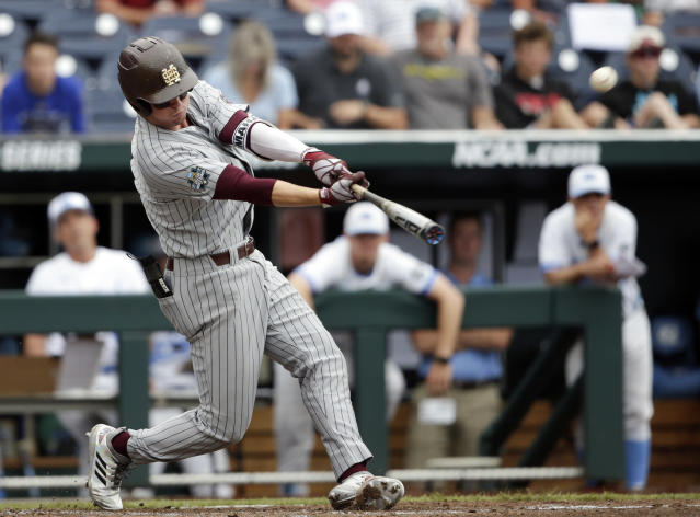 Mississippi State designated hitter Jordan Westburg hits a grand slam against North Carolina in the second inning of an NCAA College World Series baseball game against North Carolina in Omaha, Neb., Tuesday, June 19, 2018. (AP Photo/Nati Harnik)