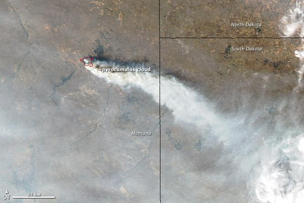 NASA's Aqua satellite captured this image of Montana's Dugan fire on Sept. 15, 2012. The fire formed towering pyrocumulus clouds.