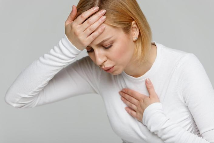 Woman with breathing problem