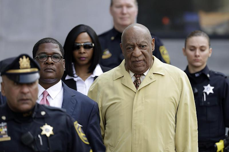 In this Monday, Feb. 27, 2017, file photo, Bill Cosby departs after a pretrial hearing in his sexual assault case at the Montgomery County Courthouse in Norristown, Pa. The next battle in the criminal case against Bill Cosby will be whether prosecutors can use his lurid deposition testimony about giving pills and alcohol to a string of women before sex — material that may be disallowed at his trial since the judge ruled most of the women themselves can't testify. (AP Photo/Matt Slocum)