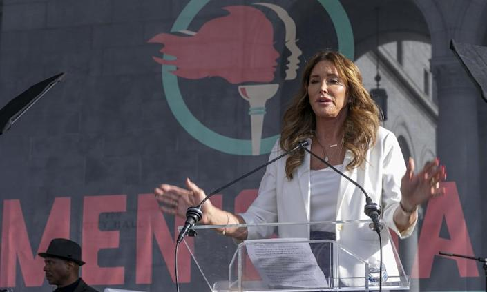 Caitlyn Jenner, seen at the Women's March in 2020, is among the gubernatorial candidates.