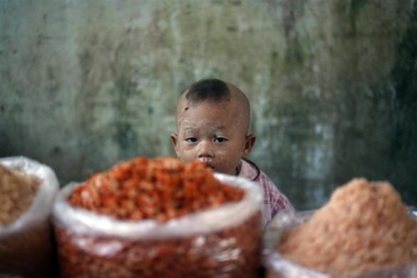 A boy sits next to dried shrimps at a shop in a market in Thanlyin Town, on the other side of the Yangon River, February 6, 2012.