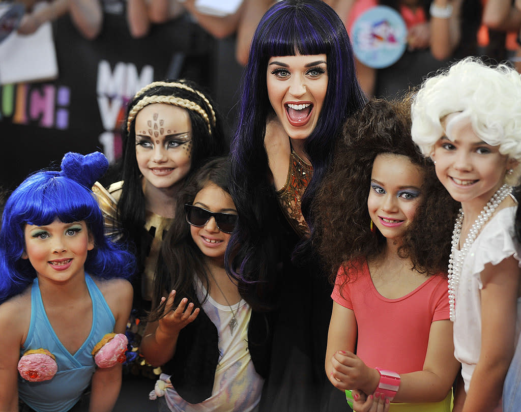 Turns out more than just one young fan decided to become a pint-size Perry at the MuchMusic Awards. The gaggle of gals got the chance to pose with their pop idol Katy Perry at last Sunday night's show in Toronto, but it was actually Katy who looked the most excited of all. (6/17/2012)