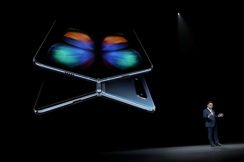 DJ Koh, President and CEO of IT & Mobile Communications Division of Samsung Electronics, announces the new Samsung Galaxy Fold smartphone during the Samsung Unpacked event on Feb. 20, 2019 in San Francisco, Calif. Samsung announced a new foldable smart phone.