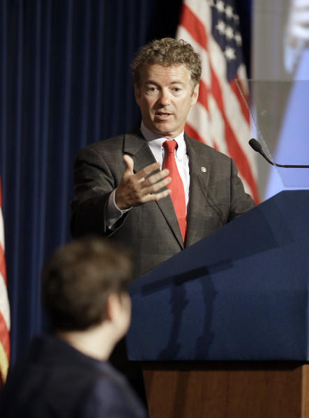 U.S. Sen. Rand Paul, R-Ky., speaks at the Ronald Reagan Presidential LIbrary in Simi Valley, Calif., Friday, May 31, 2013. (AP Photo/Reed Saxon)