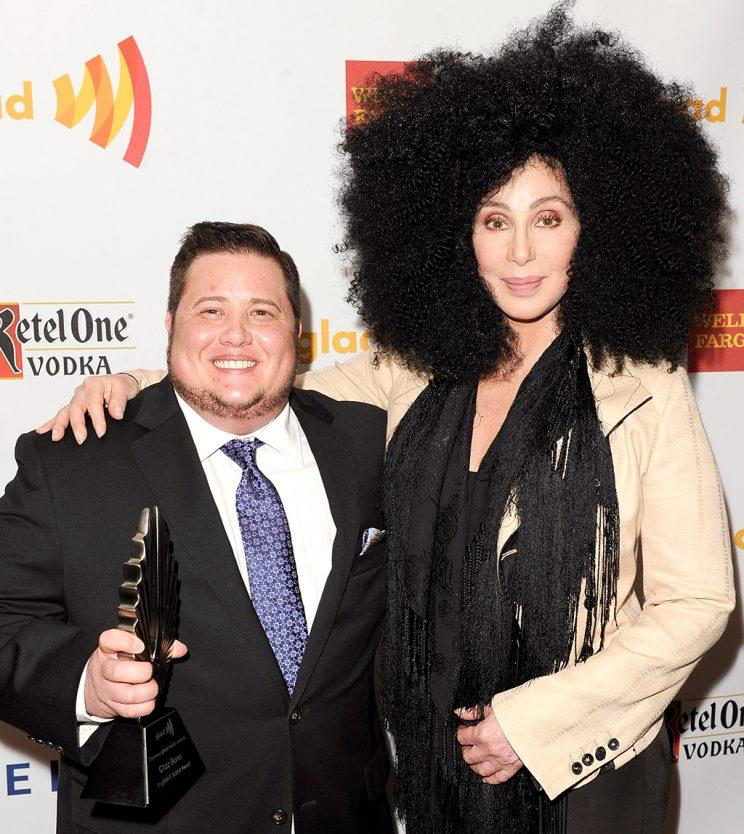 Chaz Bono and Cher at the 23rd Annual GLAAD Media Awards in L.A. (Photo: Jason Merritt/Getty Images for GLAAD)