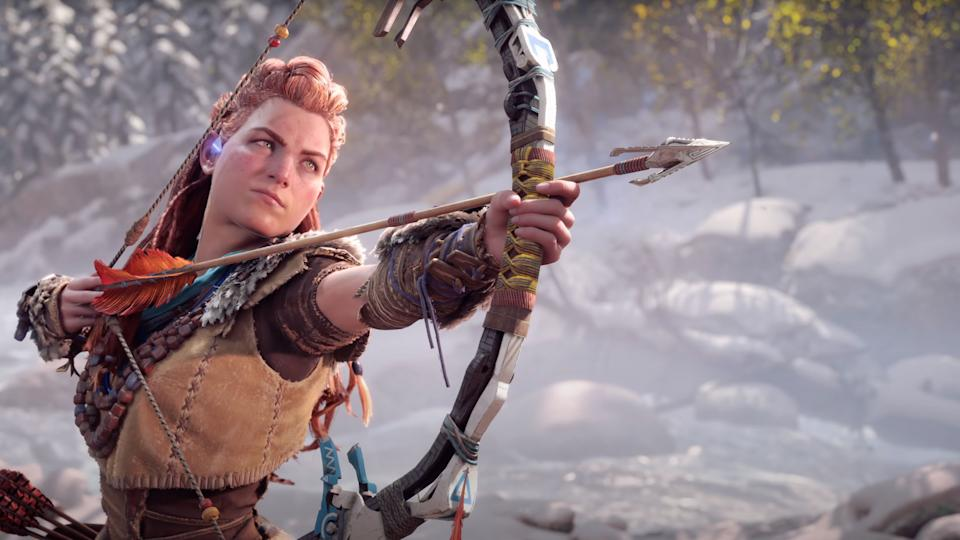 Aloy from the Horizon Forbidden West trailer. (Image: Sony via YouTube)