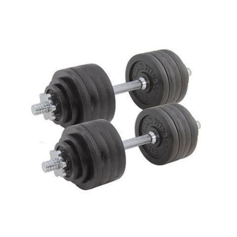 """<p><strong>Titan Fitness</strong></p><p>www.titan.fitness.com</p><p><strong>$254.99</strong></p><p><a href=""""https://go.redirectingat.com?id=74968X1596630&url=https%3A%2F%2Fwww.titan.fitness%2Fstrength%2Fdumbbells%2Fadjustable-dumbbells%2Fpair-of-adjustable-cast-iron-dumbbells-5-100-lb-each%2F423013.html&sref=https%3A%2F%2Fwww.bestproducts.com%2Ffitness%2Fequipment%2Fg383%2Fadjustable-dumbbells-and-weights%2F"""" target=""""_blank"""">Shop Now</a></p><p>Need a set of dumbbells with a wide range? This no-frills set, which tops out at 50 pounds per handle, will do the trick. </p><p>With this Titan set, you'll get four 1.25-pound weights, four 2.5-pound weights, 16 5-pound weights, two steel handles, and four easy-to-tighten steel collars, totaling a whopping 100 pounds! It's the perfect way to start a home gym, as you likely won't need to add equipment for quite some time — unless """"Beast Mode"""" is your life motto, of course. </p>"""