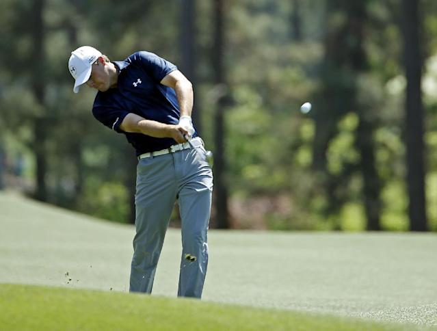 Jordan Spieth hits off the first fairway during the third round of the Masters golf tournament Saturday, April 12, 2014, in Augusta, Ga. (AP Photo/Matt Slocum)