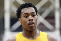 FILE - In this Jan. 19, 2020, file photo, Montverde Academy's Scottie Barnes is shown during a high school basketball game against IMG Academy at the Hoophall Classic in Springfield, Mass. Barnes was selected by the Toronto Raptors in the NBA draft Thursday, July 29, 2021. (AP Photo/Gregory Payan, File)