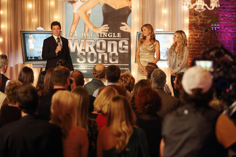 """You Win Again"" -- Edgehill Records celebrates the success of ""Wrong Song"" with a lavish party attended by Rayna, Juliette and real-life country stars including Brantley Gilbert and Chris Young (who cameo as themselves). But the party gets awkward for Juliette, who brings her mom along, and for Rayna when she's aggressively pursued by Calista (Ming-Na Wen), an exec from a competing record label. Meanwhile Teddy confronts Rayna about his suspicions over her relationship with Liam, Gunnar deals with family issues and Avery gets too comfortable with his newfound success, on ""Nashville."""