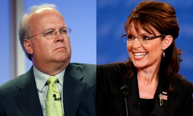 The GOP is divided between establishment types, like Karl Rove, and grassroots types, like Sarah Palin.